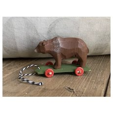 Wonderful German Hand Carved Bear On Wheels Toy