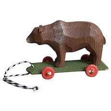 Wonderful German Hand Carved Bear On Wheels Toy