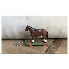 Wonderful German Hand Carved Horse On Wheels Toy
