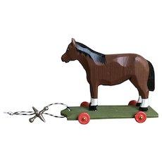 Wonderful German Hand Carved Horse On Wheels Toy