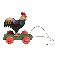 Wonderful German Hand Carved Rooster On Wheels Toy