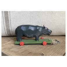 Wonderful German Hand Carved Hippo On Wheels Toy