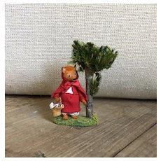 Charming Miniature French Handmade Artist Red Riding Hood Fox Scene