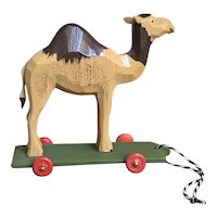 Wonderful German Hand Carved Camel On Wheels Toy
