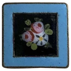 Beautiful Antique Brass & Enamel Square Button Roses, Morning Glory Flowers
