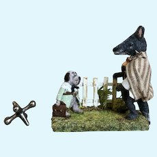 Charming Miniature French Handmade Artist Wolf and Dog Scene