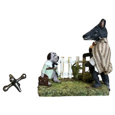 Charming Miniature French Handmade Artist Wolf and Dog Scene