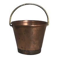 Beautiful Old English Miniature Play Scale Copper Doll Bucket with Handle