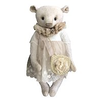 Precious Handmade German Artist Viscose Little Girl Teddy Bear