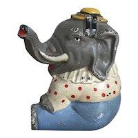 Whimsical Vintage Cast Iron Hubley Circus Elephant Still Penny Bank