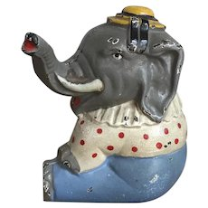 Whimsical Vintage Cast Iron Hubley Circus Elephant Still Penny Bank