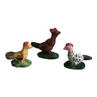 Sweet Trio of Handmade Miniature Ceramic Chickens
