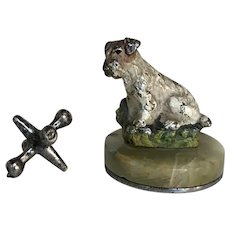 Antique Cold Painted Bronze Jack Russell Terrier Dog Place Card Menu Holder