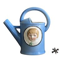 Charming Old German Children's Porcelain Watering Can Vase Pitcher