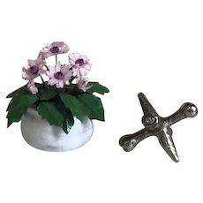 Handmade Artisan Miniature 1:12 Scale Dollhouse Flowers in Glazed Pot
