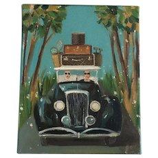 "Wonderful Original Janet Hill Oil on Canvas ""Newlyweds"" Painting"