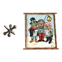 Miniature French OOAK Handmade Dollhouse Painting Holiday Caroling Animals