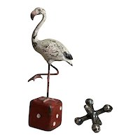 Wonderful Old Lucky Pink Flamingo Vienna Austrian Bronze