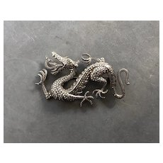 Beautiful Antique Victorian Sterling Silver & Marcasite Dragon Brooch Pin
