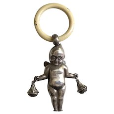 Rare & Wonderful Antique Sterling Silver Winged Kewpie Doll Figural Baby Rattle