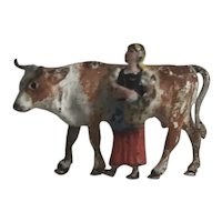 Sweet Old Vienna Austrian Bronze Miniature Cold Painted Milkmaid & Cow