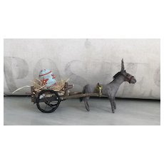 Charming Handmade Spun Cotton Donkey Pulling Egg Cart Art Doll by Cindy Riccardelli