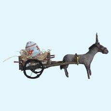 Sweet Handmade Spun Cotton Donkey Pulling Egg Cart Art Doll by Cindy Riccardelli