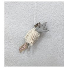 Handmade Spun Cotton Princess Mouse Feather Tree Ornament by Sophie Boutel