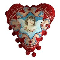 Sweet Handmade Red Felt Heart Beaded Appliquéd Angel Heart Valentine Pin Cushion Pillow