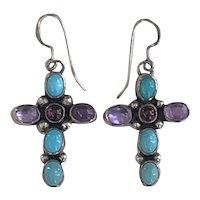 Handmade Southwestern Sterling Silver Multi Stone Turquoise Cross Earrings