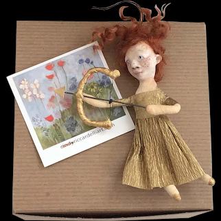 Valentine Cupid Spun Cotton OOAK Art Doll Ornament by Cindy Riccardelli