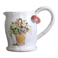 Sweet French Faience Style Pottery Pitcher by Julie Whitmore Wildflower Bouquet