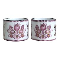 Beautiful Antique Ornate Hand Painted French Enamel Napkin Rings (2)