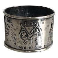 Antique Sterling Silver Nursery Rhymes Child Baby Napkin Ring
