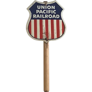 Vintage Tin & Wood Union Pacific Railroad Toy Train Sign