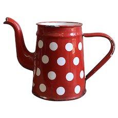 Antique French Red & White Polka Dot Enamelware Coffee Pot