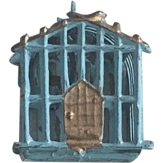 Wonderful Old Miniature Dollhouse Blue & Gold Soft Metal Birdcage with Bird