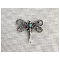 Beautiful Vintage Sterling Silver & Turquoise Dragonfly Pin Brooch