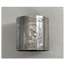 """Gorgeous Antique Sterling Silver Napkin Ring Etched Birds, Leaves """"Annie"""""""