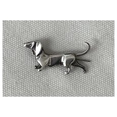 Sweet Vintage Signed Sterling Silver Dachshund Dog Pin
