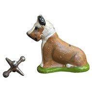 Charming Old Cast Iron Fox Terrier Dog Paperweight or Party Favor
