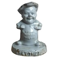 "Wonderful Antique Cast Iron, Enamel Advertising Paperweight ""Warm Friend"""