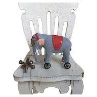 Miniature Dollhouse or Doll Steiff Style Elephant on Wheels