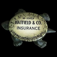 Great Antique Cast Iron and Celluloid Insurance Advertising Turtle Paperweight