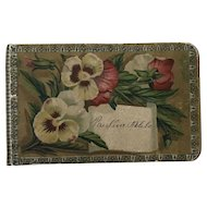 Wonderful Petite Antique Victorian Autograph, Scrapbook Pansy Flowers