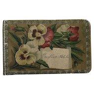Wonderful Petite Antique Victorian Autograph, Scrapbook Pansy Flowers
