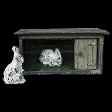 Charming Old Miniature Lead Rabbit Hutch with Bunny Rabbits