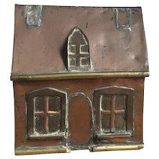 Wonderful Antique Copper & Brass Handmade House Folk Art Still Bank