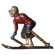 Wonderful 1940's Hubley Cast Iron Male Skier Paperweight Figurine