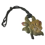 Charming Old Cast Iron Yellow Rose Flower Shade Pull